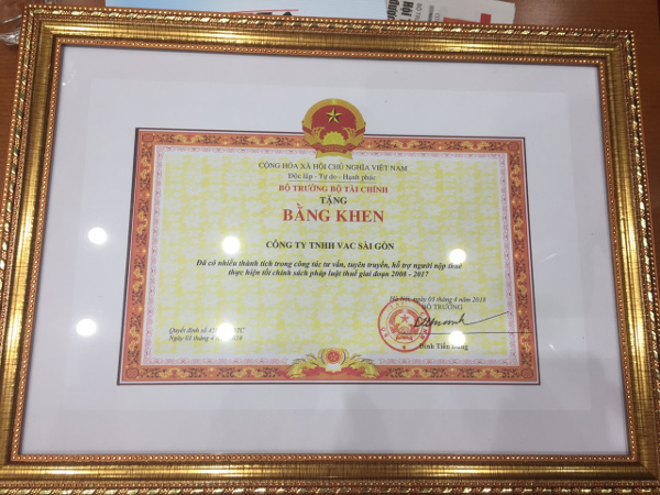 ベトナム税理士会 最優秀税理士法人賞 賞状